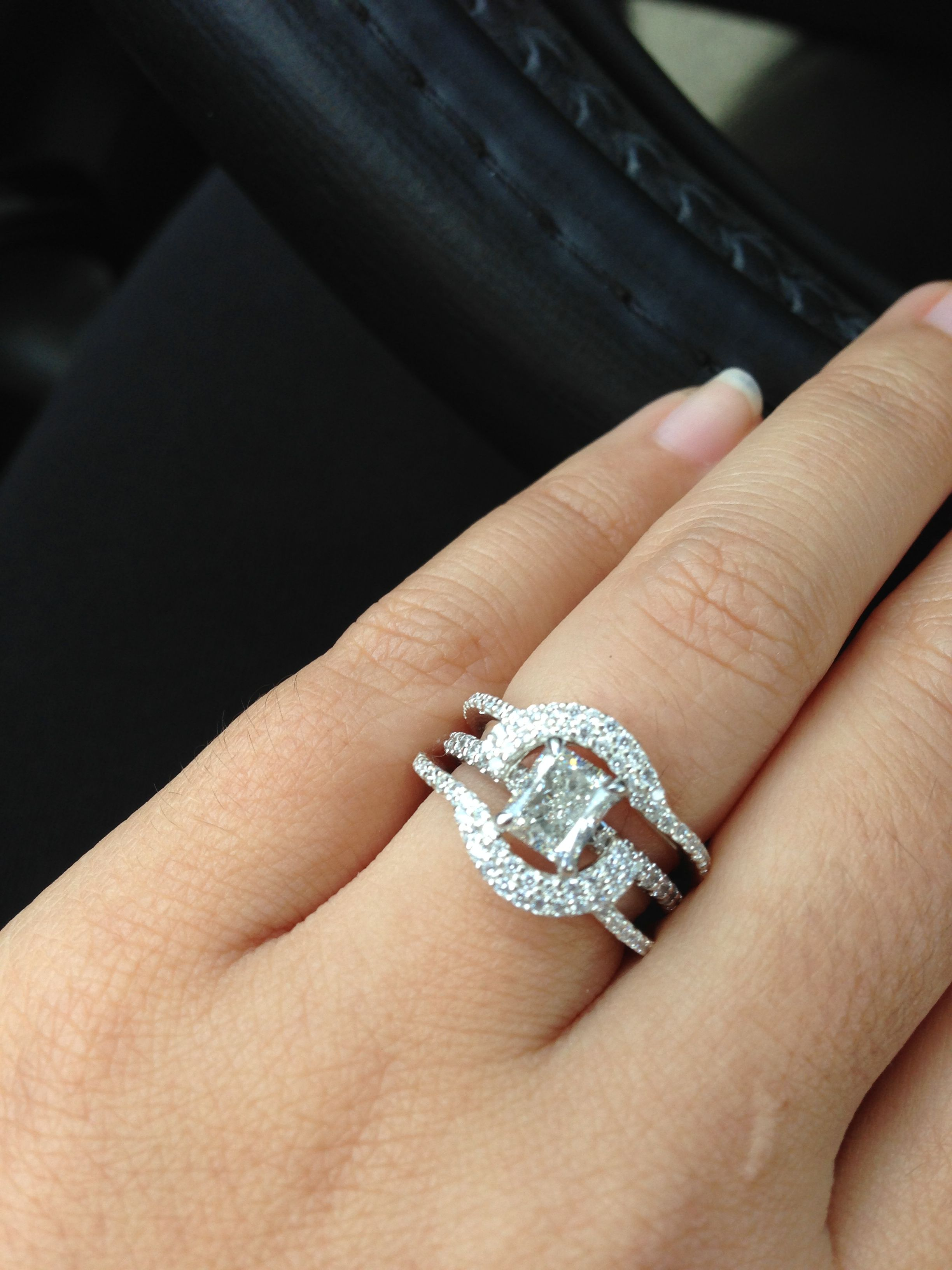 wedding ring guard Halo Ring Guard on Radiant Pave diamond engagement ring