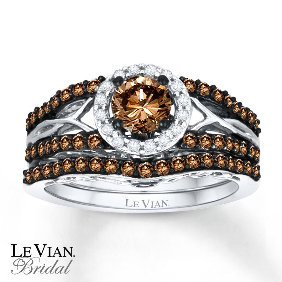 chocolate diamond wedding rings levian chocolate diamonds Email LeVian Chocolate Diamonds 1 ct tw Bridal Set 14K