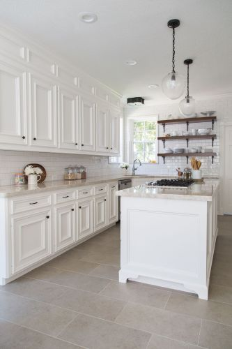 floor tiles for kitchen BEFORE AFTER A Dark Dismal Kitchen Is Made Light And Bright Light Flooring KitchenLarge Tile