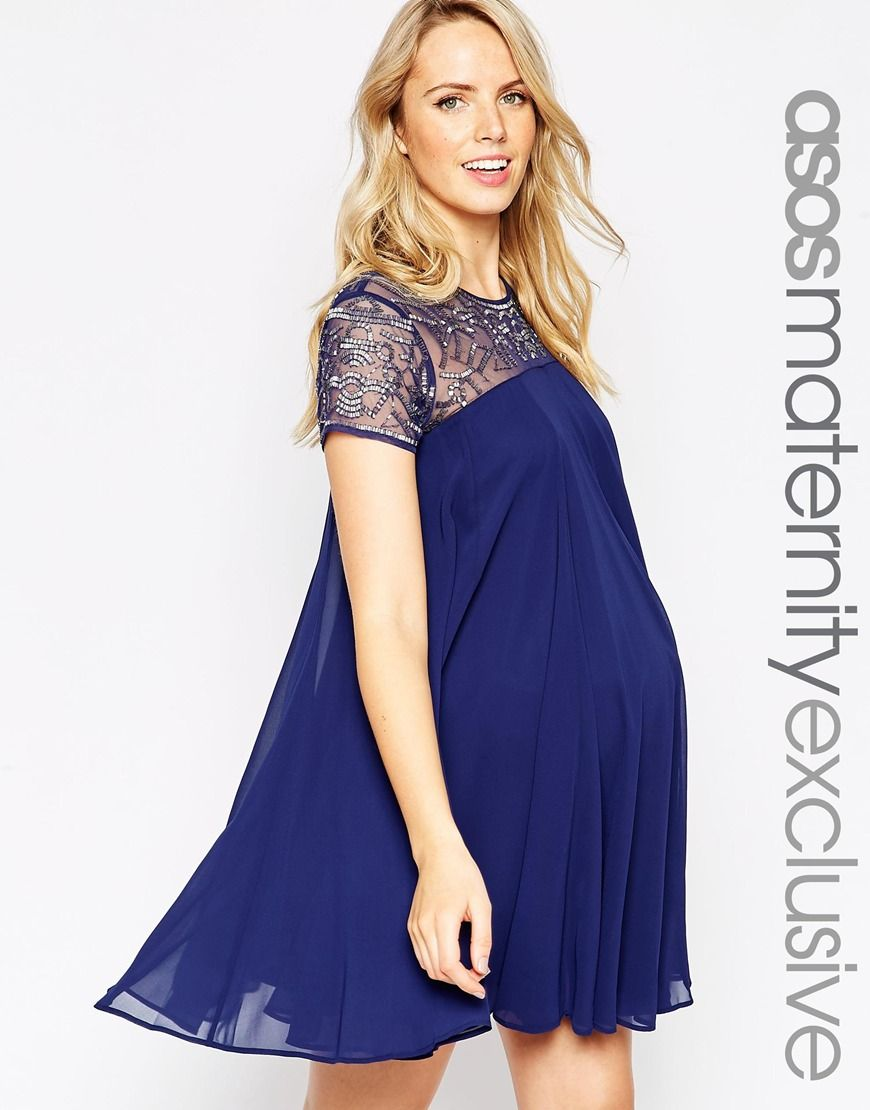maternity dresses for weddings Image 1 of ASOS Maternity Swing Dress With Embellishment