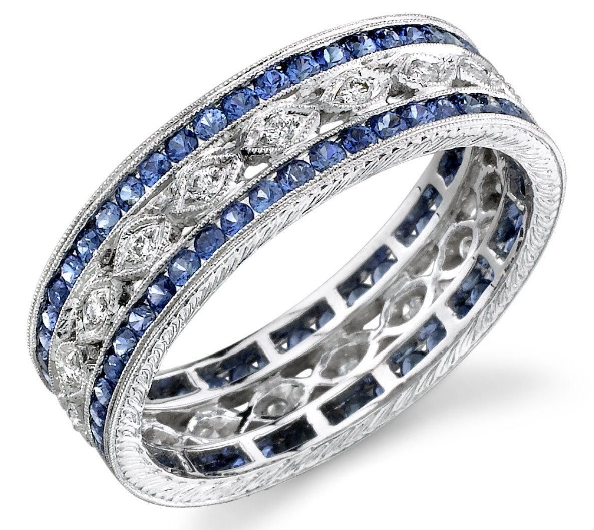 sapphire wedding bands wide diamond sapphire band Love this for a push present because it can be