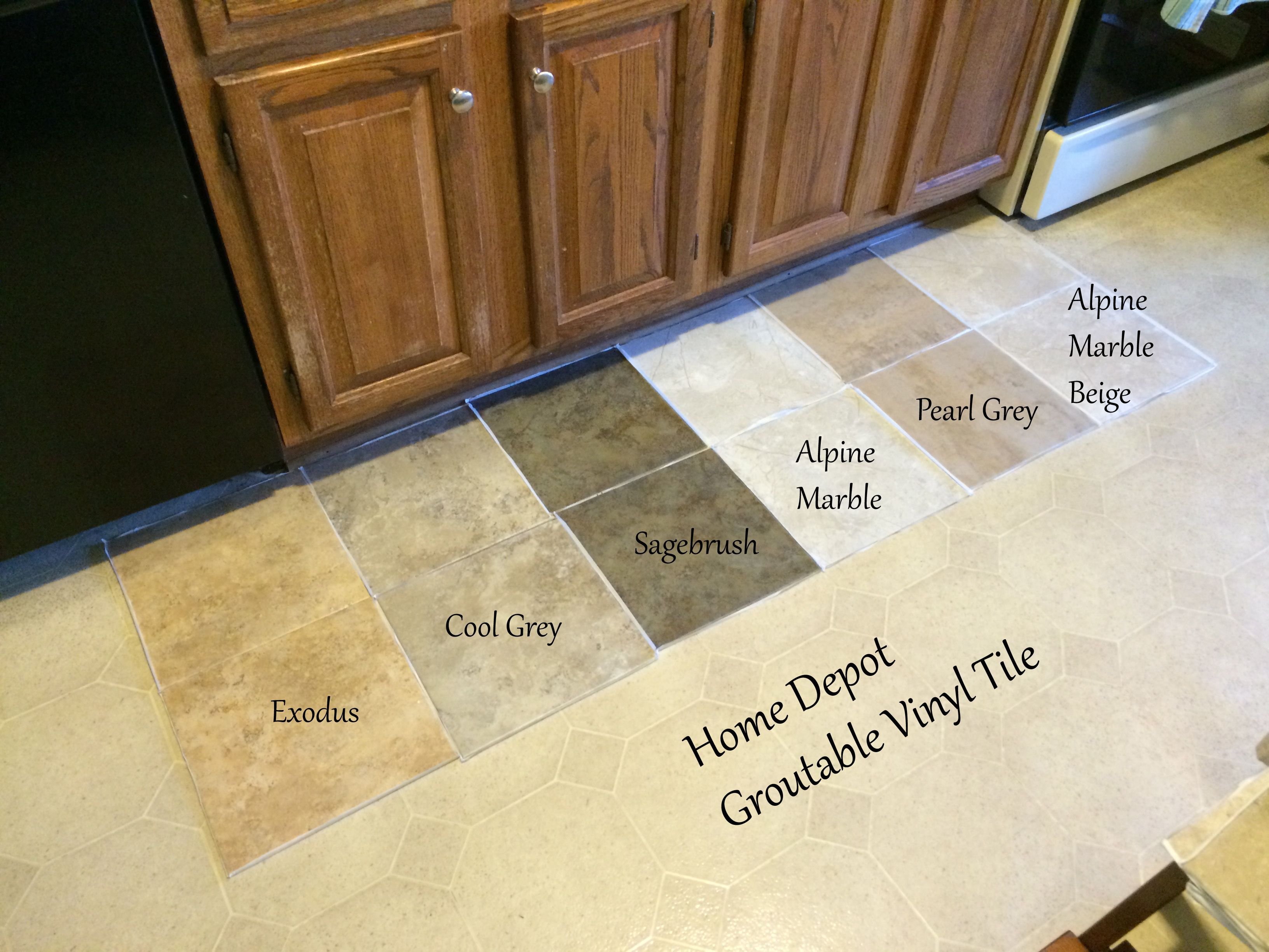flooring home depot kitchen flooring Looking for Kitchen flooring ideas Found groutable vinyl tile at Home Depot they