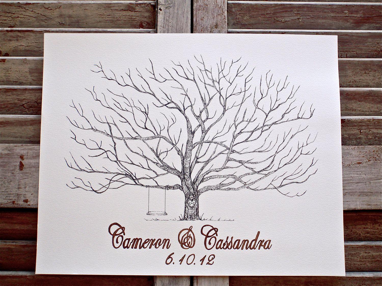 wedding tree Medium Fingerprint Pohutakawa Tree Wedding Guest book Hand Drawn in ink includes 2 ink