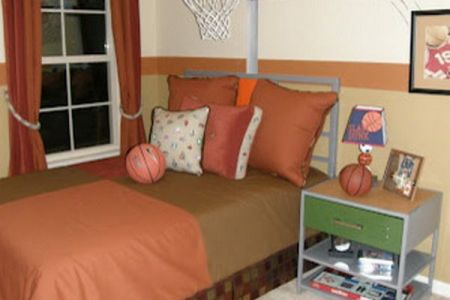 custom kids bedroom with basketball theme painting | kid's