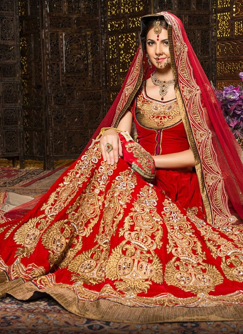wedding lehenga Sketch your life with colors and prints with this grand look red velvet wedding lehenga choli