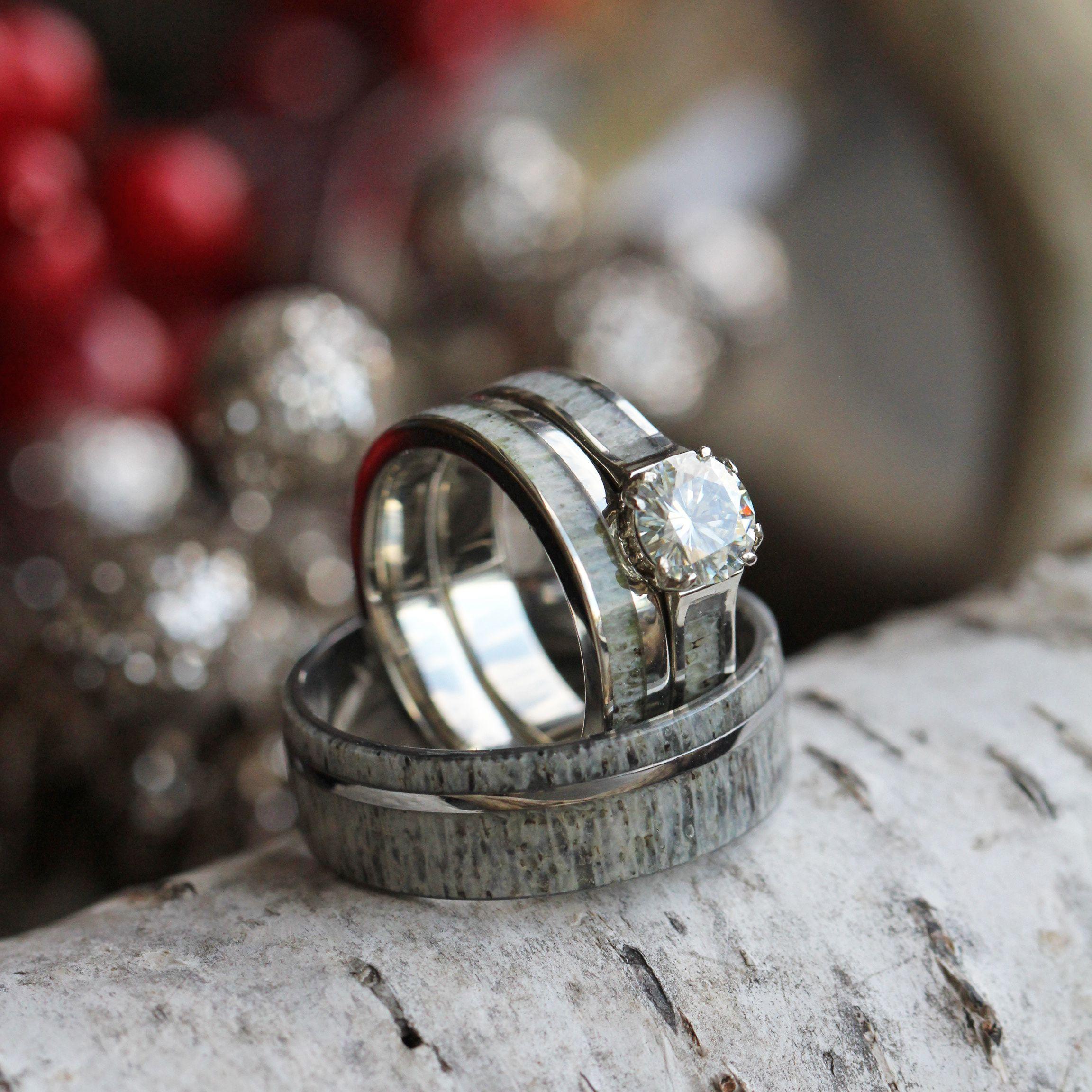 deer wedding bands Deer Antler Wedding Ring Set With Moissanite Bridal Set And Men s Band