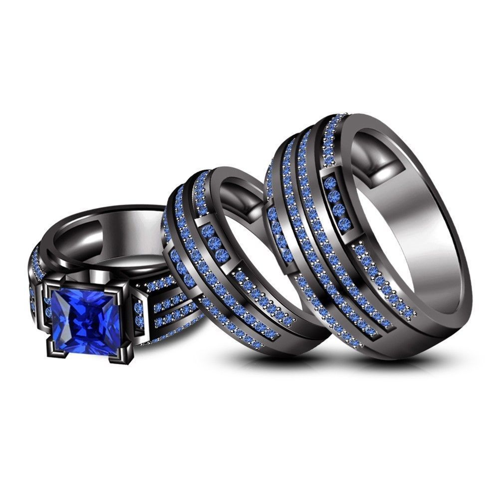wedding ring trio sets Blue Sapphire Trio Wedding His Her Band Ring Set Black Gold Over Sterling