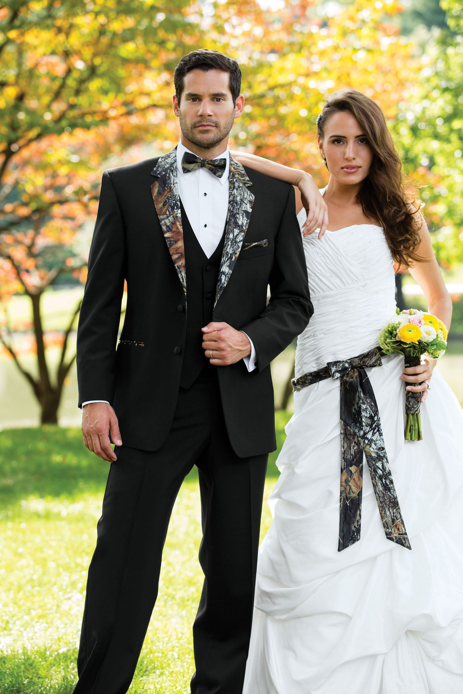 white camo wedding dress Camo isn t always meant to blend in Be an individual in our Camouflage Tuxedo Tailored in worsted wool with a camouflage notch lapel and top collar
