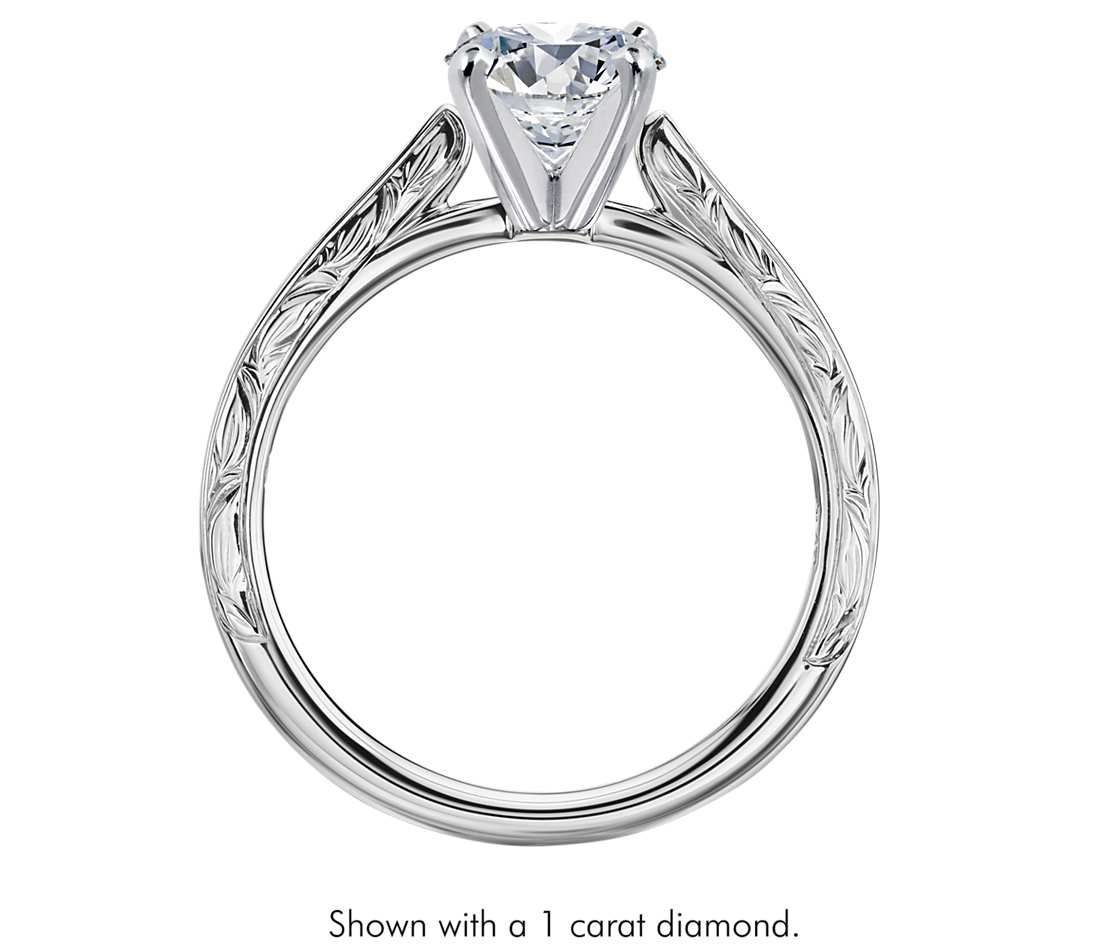 build a wedding ring Hand Engraved Profile Solitaire Engagement Ring in Platinum