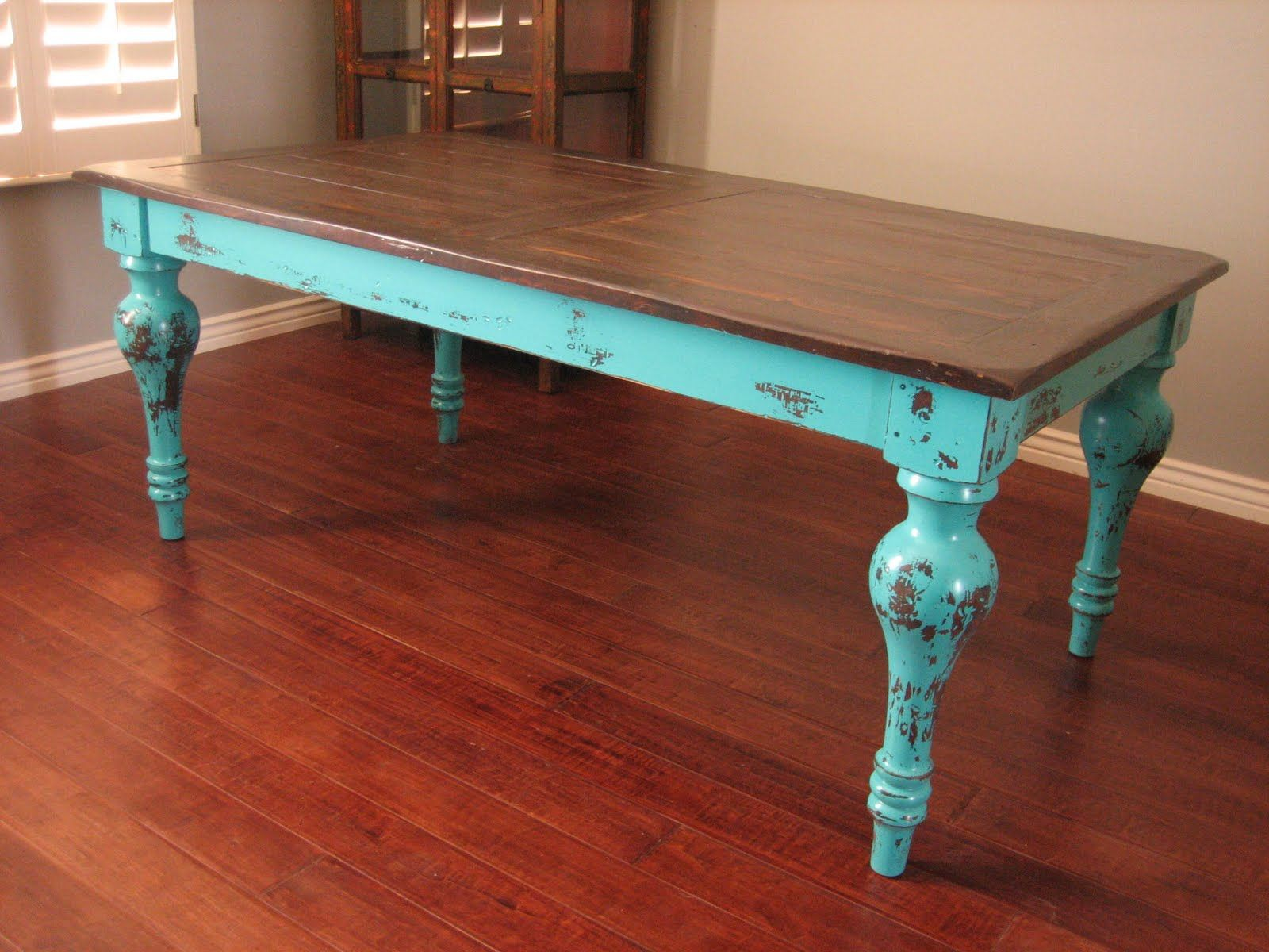rectangle kitchen table Small Rectangle Shape Shabby Chic Dining Table With Brown On Top Feat Soft Blue For Legs