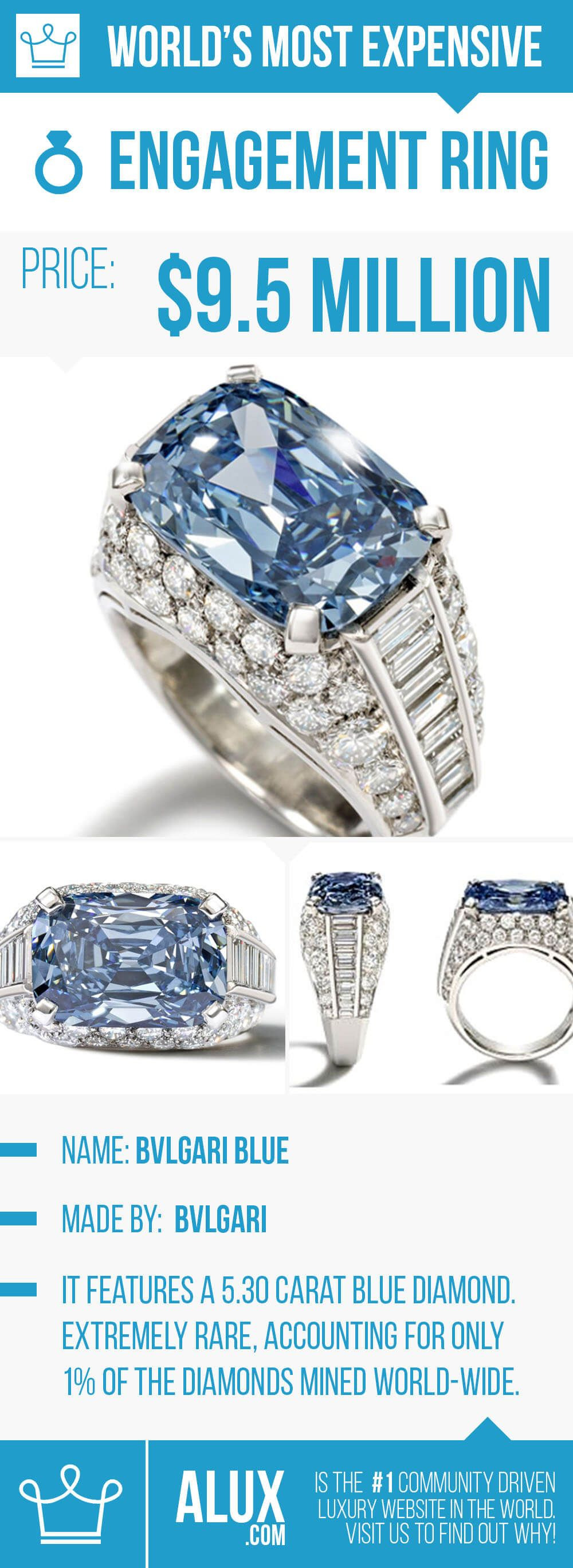 most expensive wedding rings most expensive engagement ring in the world blue diamond picture price alux bvlgari bulgari blue