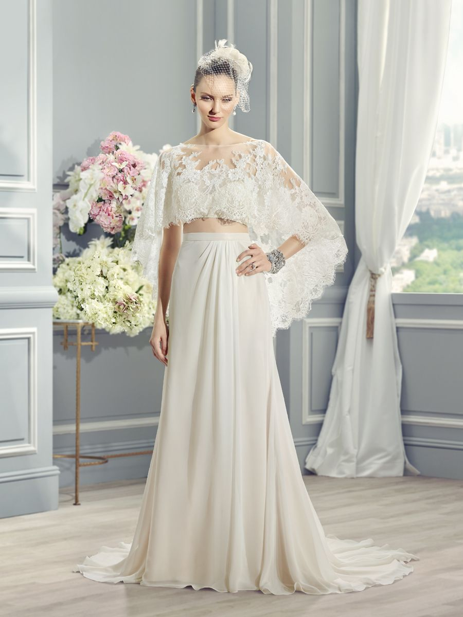 2 piece wedding dresses Moonlight Style J Airy two piece wedding dress with a French lace capelet Country wedding