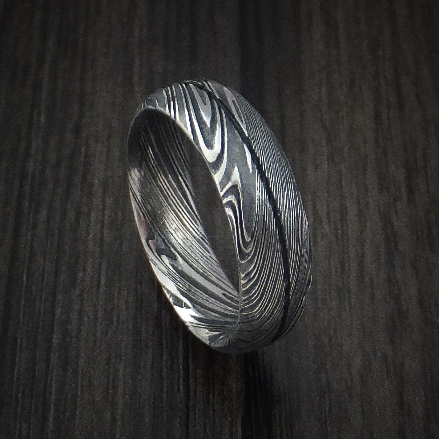 damascus steel wedding bands Kuro Damascus Steel Ring Wedding Band Genuine Craftsmanship
