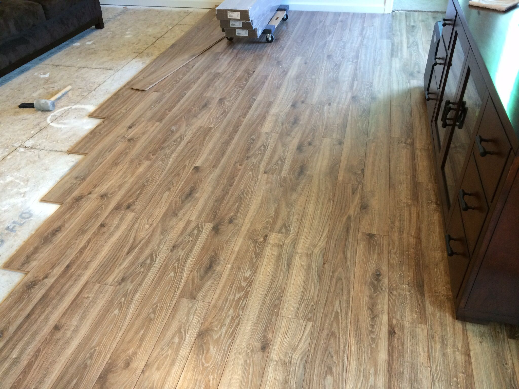flooring lowes kitchen flooring Floor coming along Lowe s allen roth driftwood oak laminate in my Ryan home Palermo