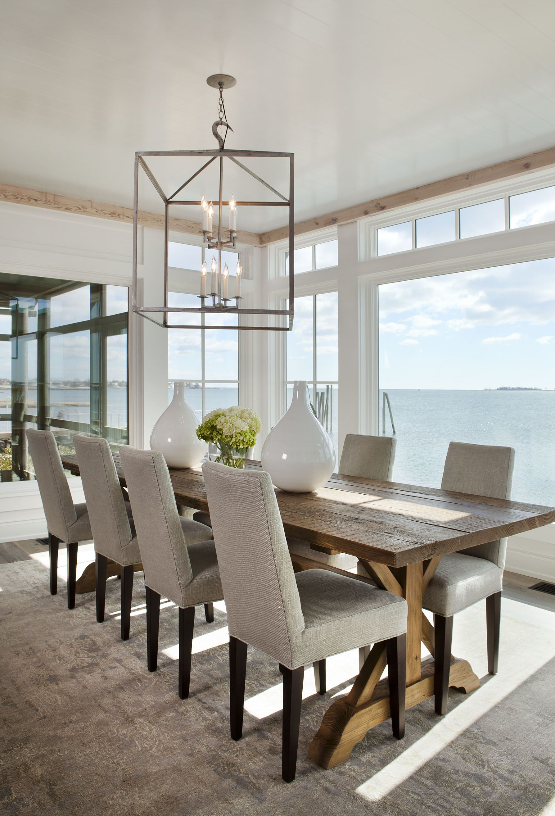 beachy kitchen table I like the large table the chairs and the overall modern clean and warm Long Dining Room TablesBeach