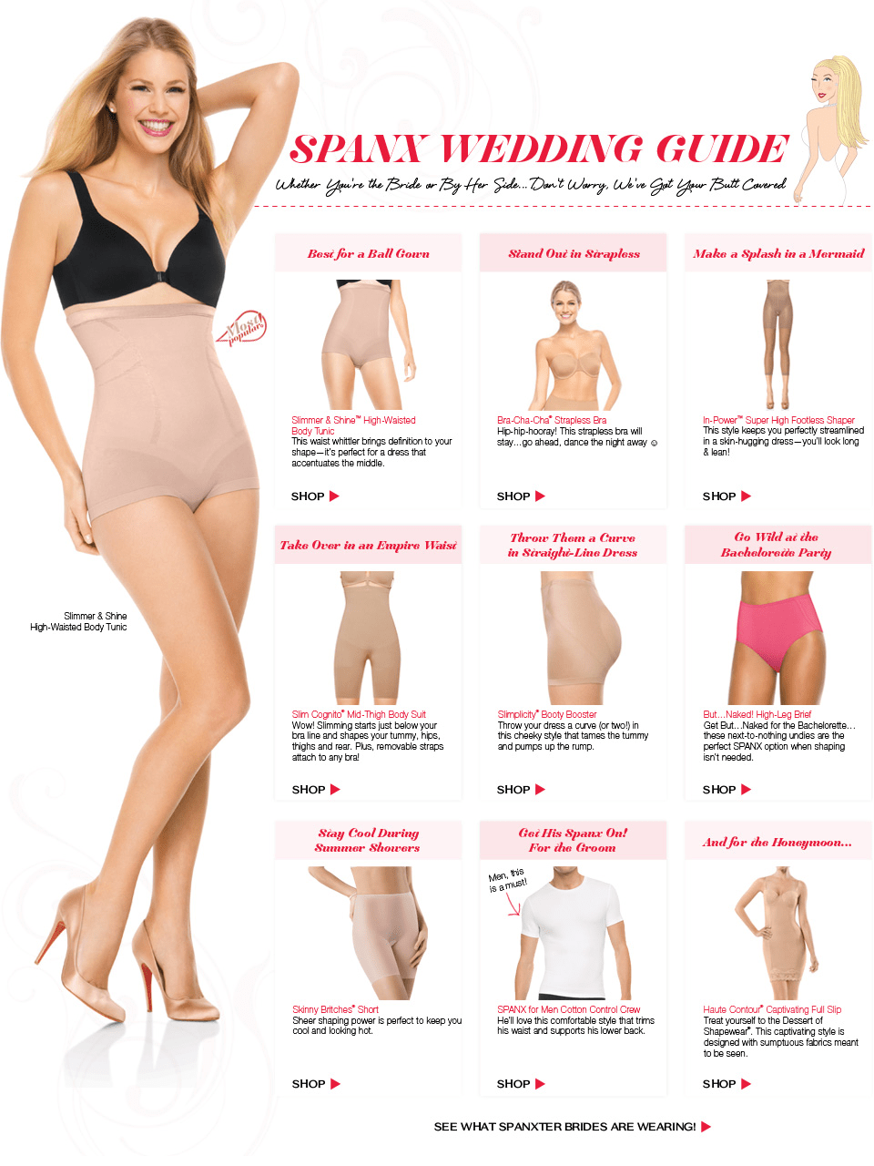 undergarments for wedding dress Spanx are perfect for hiding slight imperfections for your wedding or special event