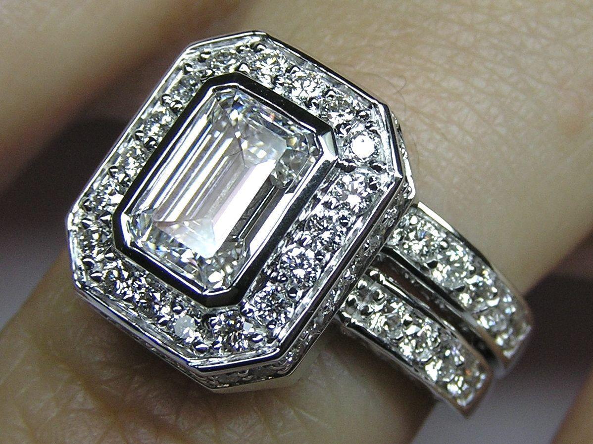 emerald cut wedding rings Emerald Cut Diamond Bezel Set Double Halo Bridal Set Engagement Ring Wedding Band
