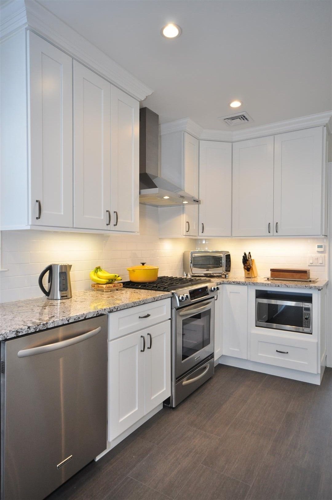 kitchen cabinets white white shaker kitchen cabinets Gray Floor Gray Counter tops