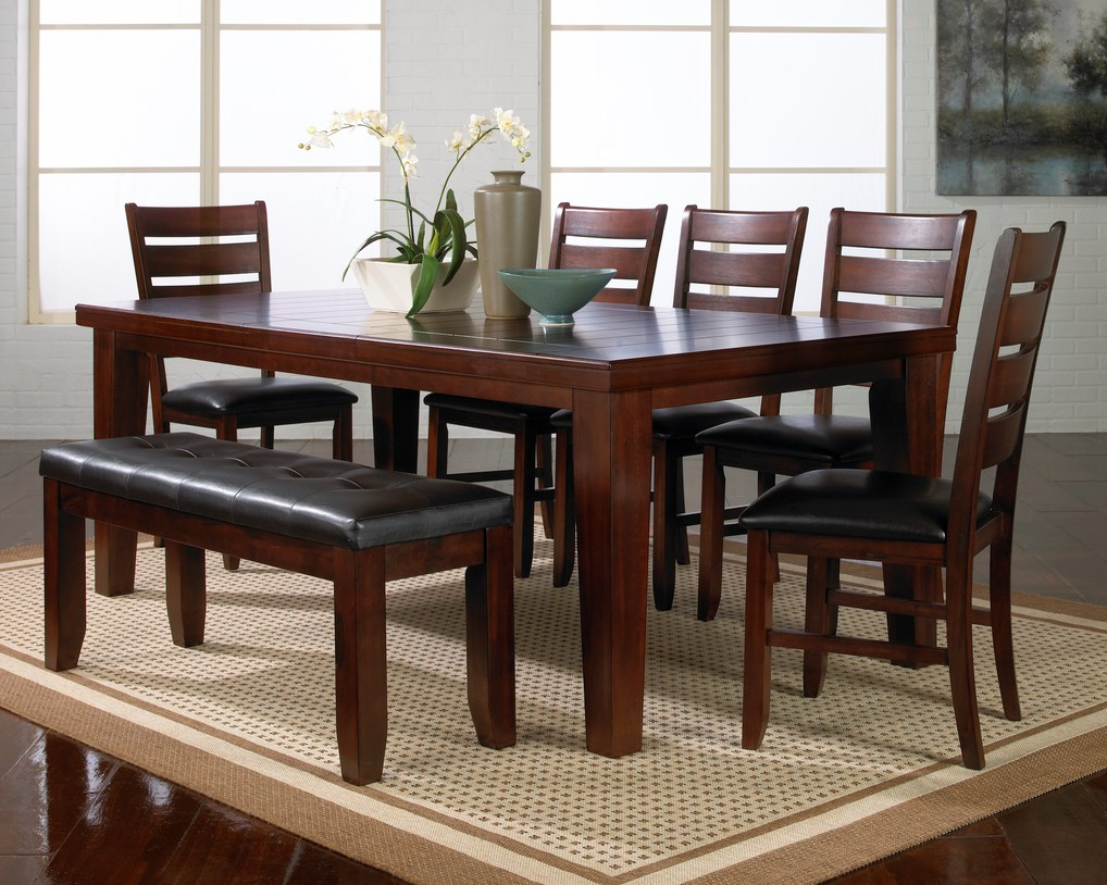 dining table rugs rectangle kitchen table solid wood stripes lacquered brown dining table furniture design walnut material dark brown leather bench and chairs on broken white fur rug