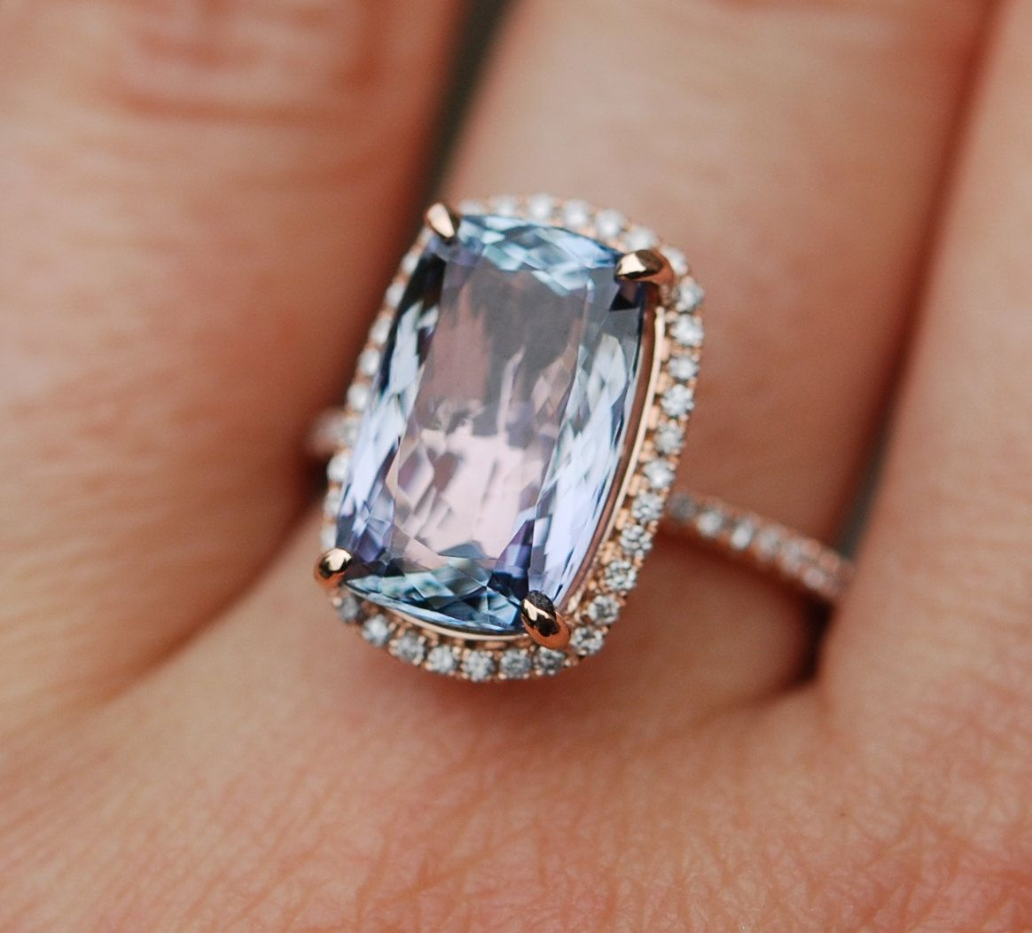 tanzanite wedding rings Tanzanite Ring Rose Gold Engagement Ring by EidelPrecious on Etsy