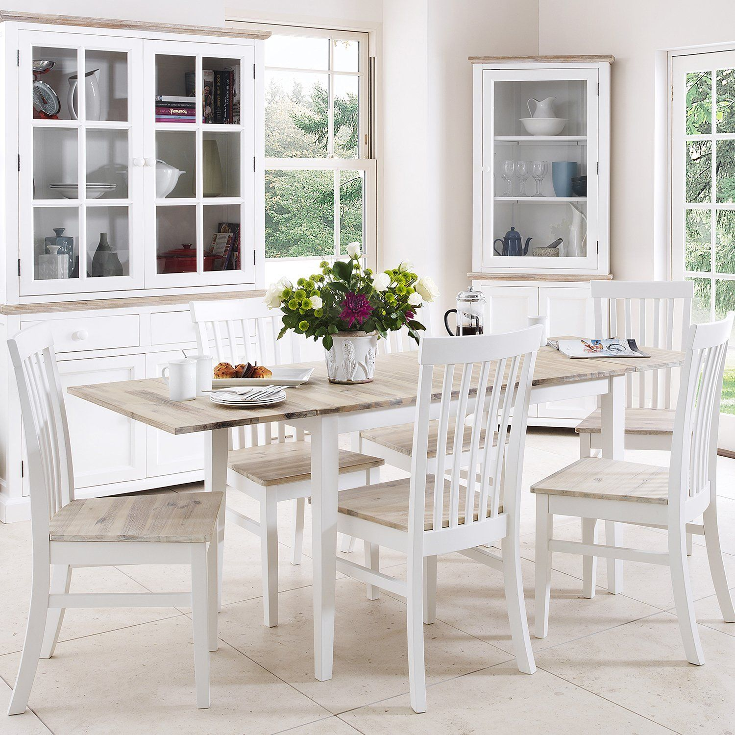amazon kitchen chairs Florence extending table and 6 chairs set white Amazon co uk