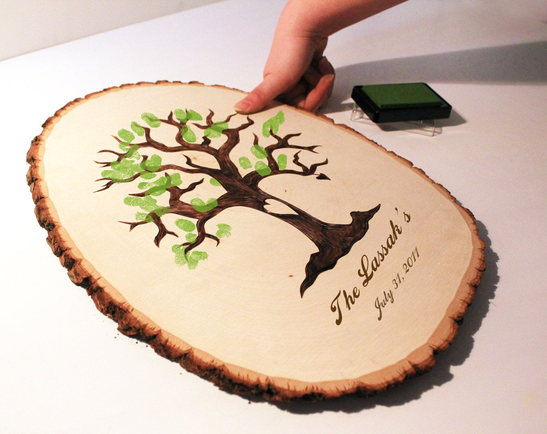 wedding tree Wedding Fingerprint Tree Guest Book CUSTOM ORDERS 59 99 via Etsy cute idea