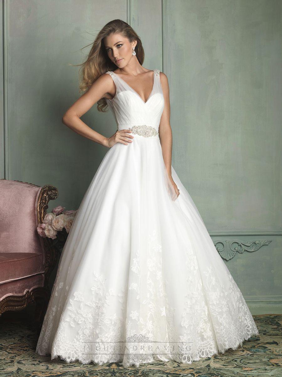 sheer back wedding dress Sheer Straps V neck and V back Ball Gown Wedding Dress Wedding Dresses