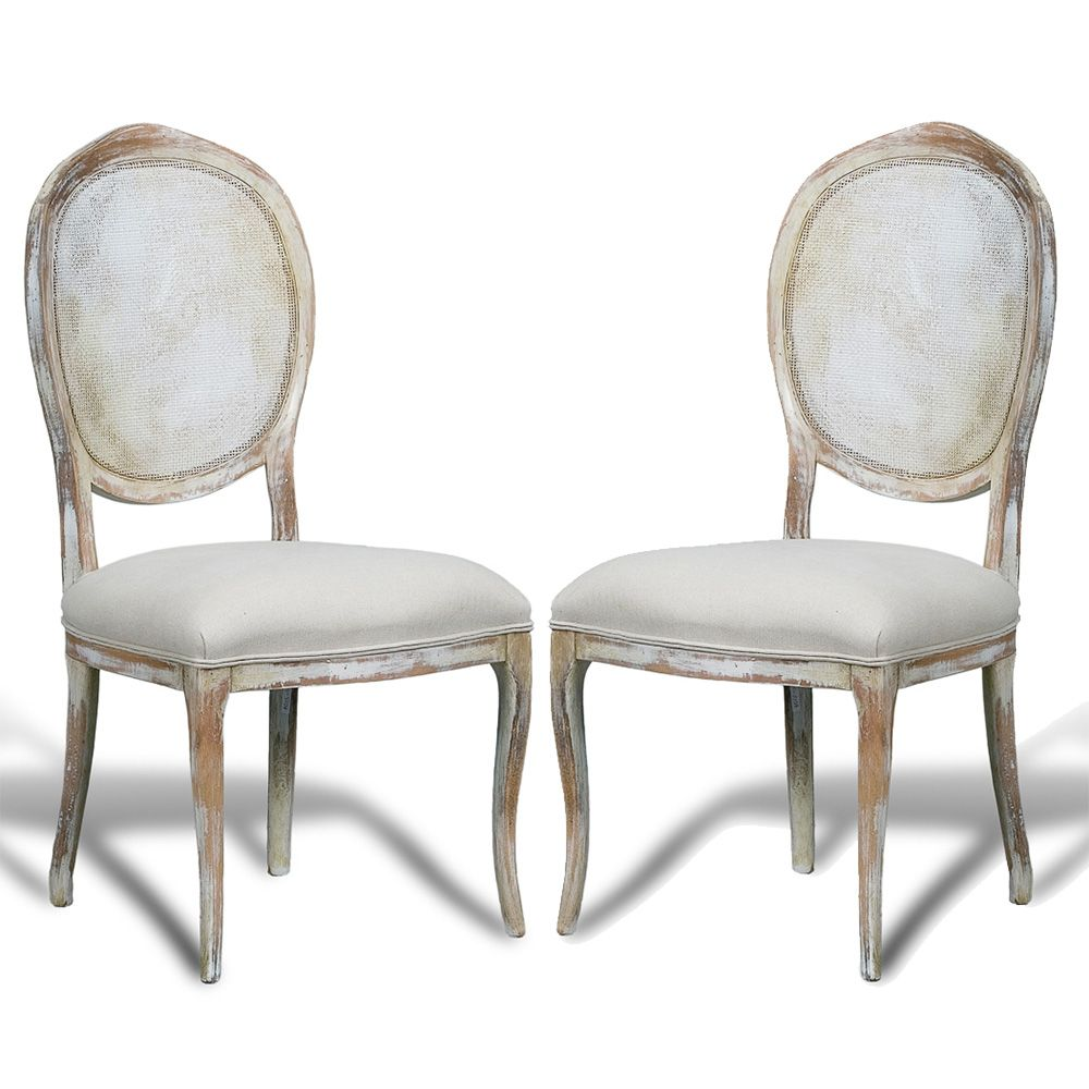 wicker kitchen chairs French Country Cane Round Back Chairs distressed white 7 pairs