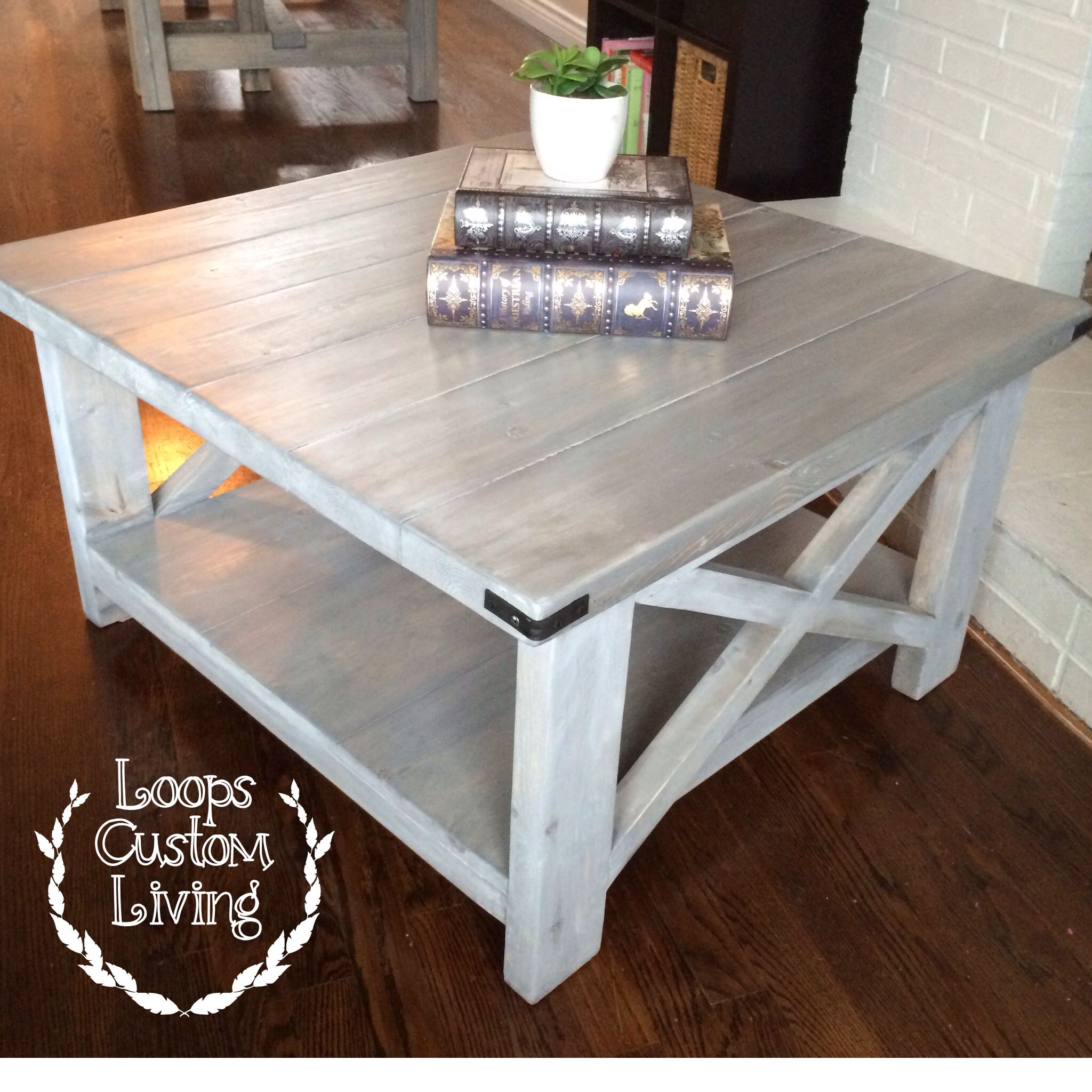 whitewash kitchen table White washed grey industrial square coffee table