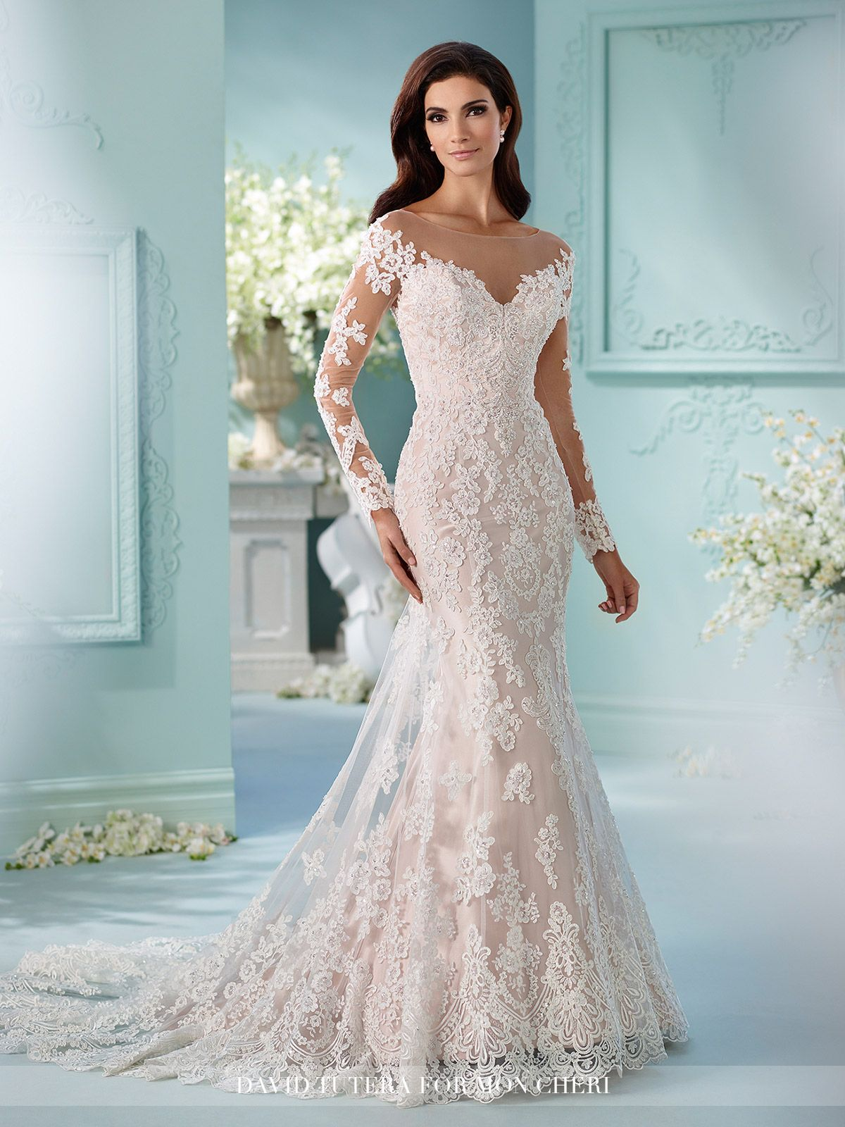 long sleeve wedding dresses Tulle over satin fit and flare cage dress with hand beaded Alencon lace appliques Sleeve Wedding