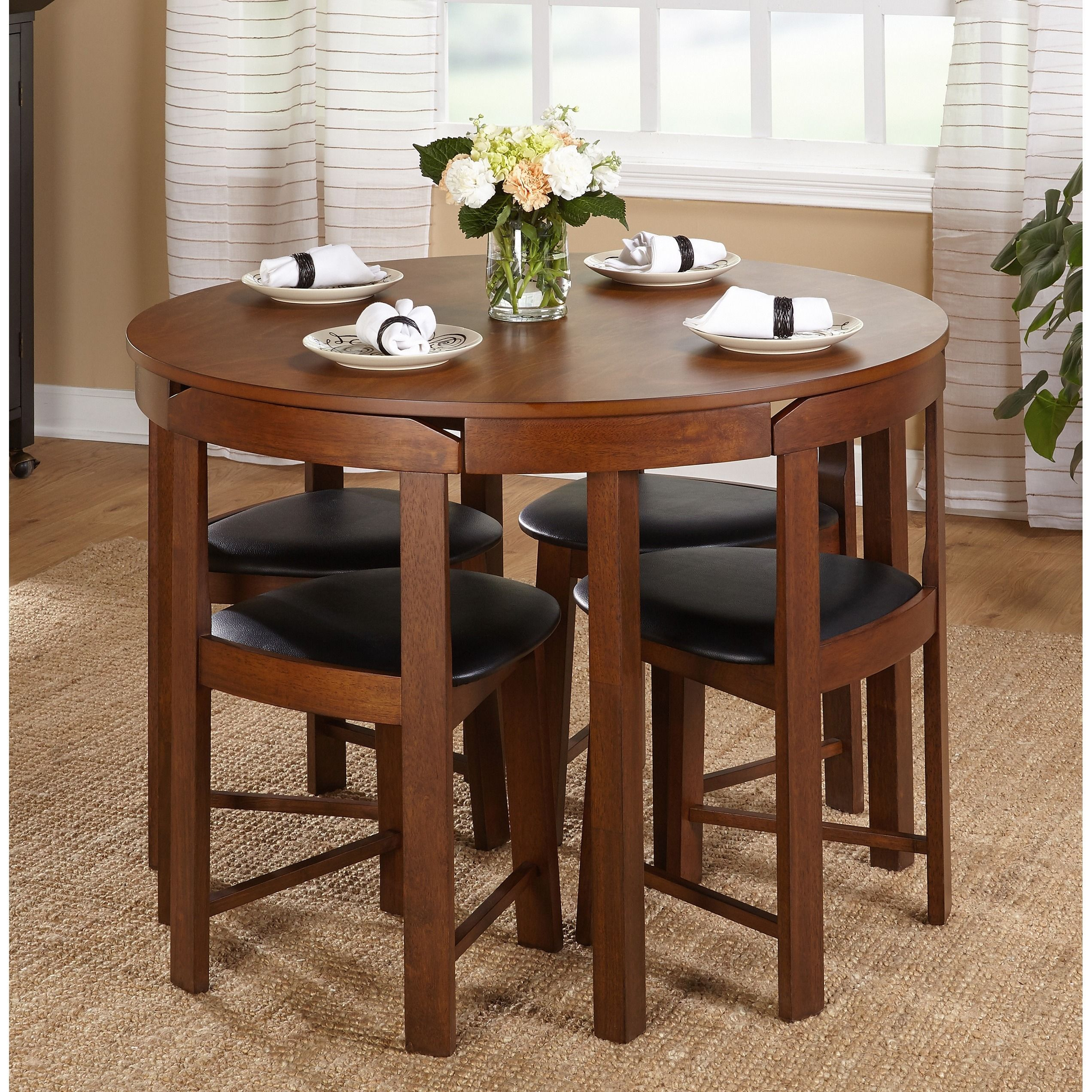 tables for small kitchens Simple Living 5 piece Tobey Walnut Compact Dining Set by Simple Living