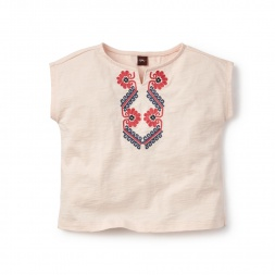 Tea Collection Embroidered Notch Neck Top