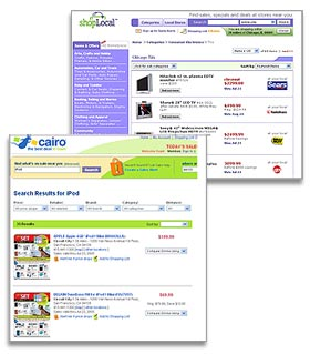 Cairo.com and Shoplocal.com let users search for real world deals at local stores.