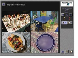 A Spanish Level 1 screen from the Rosetta Stone language learning program.