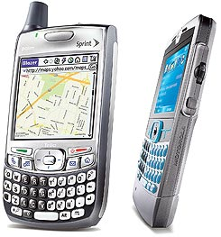 COMMENT:Palm's Treo 700p, priced at $399 with a service contract (left)