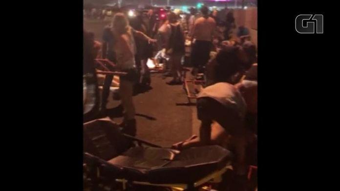 Imagens mostram resgate de feridos após tiros serem disparados em Las Vegas