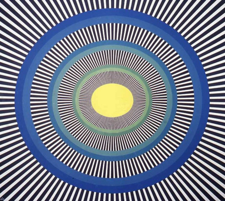 Pulsating circles and lines optical illusion