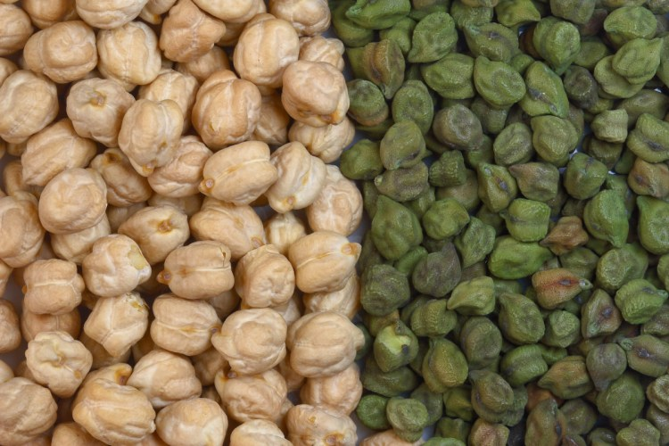 white and green chick peas
