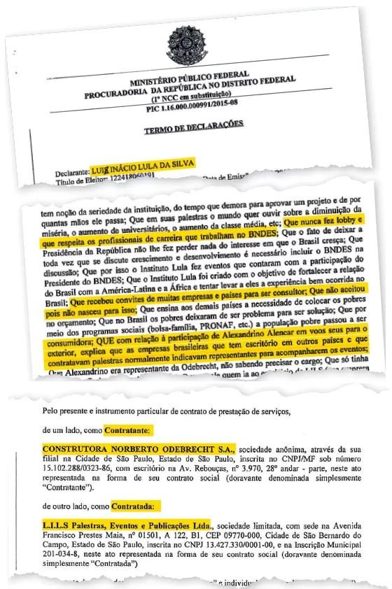 Contratos assinados entre Lula e Odebrecht (Foto: reprodução)