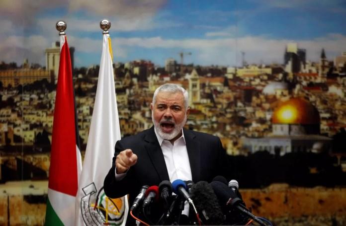 Chefe do Hamas, Ismail Haniyeh, em um discurso em Gaza (Foto: Mohammed Salem/Reuters)