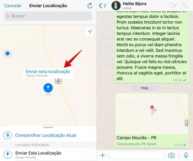 Compartilhando a localização de um ponto fixo no WhatsApp para iPhone (Foto: Reprodução/Helito Bijora)