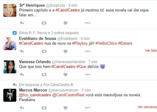 Internautas comentam nudez de Carol Castro em 'Velho Chico' (Foto: Reprodução/Twitter)