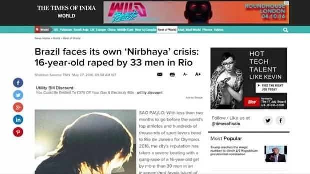 Em texto assinado pelo correspondente em São Paulo, o The Times of India critica cobertura da mídia brasileira sobre caso no Rio (Foto: Reprodução)