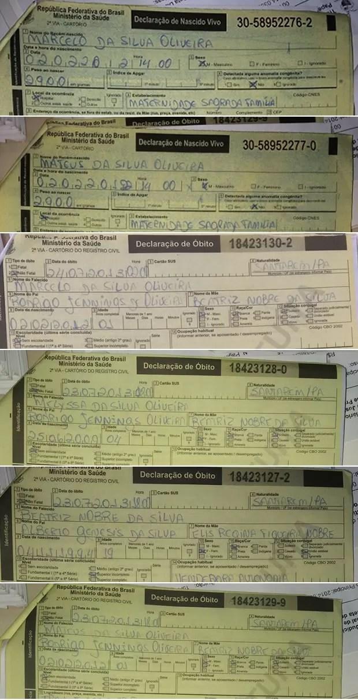 Certidões de nascido vivo e de óbitos falsificadas pelo advogado (Foto: Divulgação/Polícia Civil de Santarém)