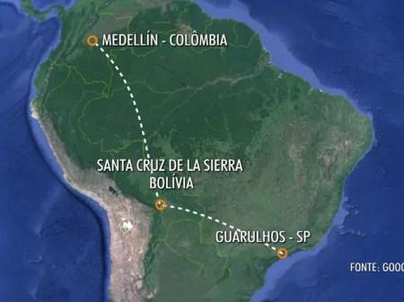 Avião da Chapecoense saiu de São Paulo ontem à noite (Foto: Reprodução/TV Globo)