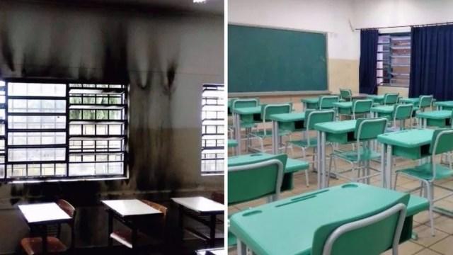 Antes e depois de uma das salas de aula; escola ganhou doações de materiais e foi revitalizada pela própria comunidade (Foto: Arquivo pessoal)