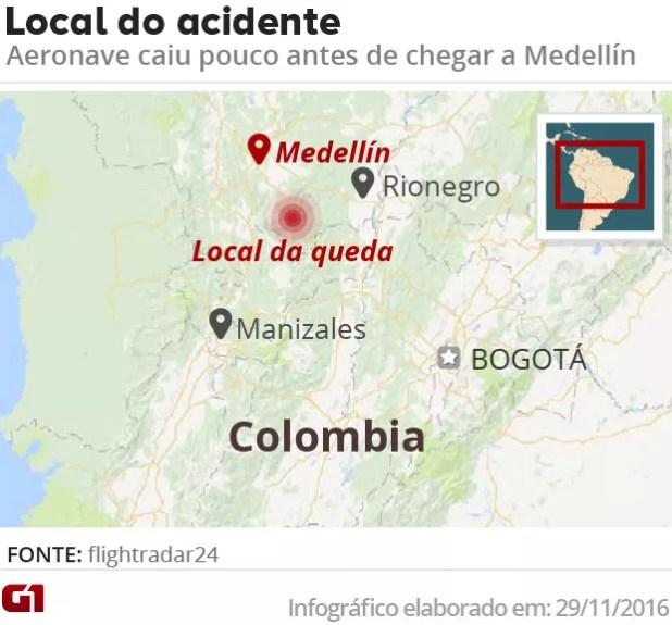 Local do acidente com a eronave da Chapecoense (Foto: Editoria de Arte/G1)