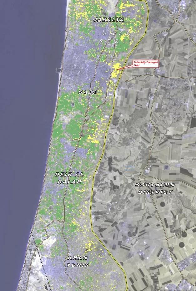Imagem de satélite mostra plantações agrícolas destruídas em confronto entre Hamas e Israel (em amarelo) (Foto: Unosat/United Institute for Training and Research)
