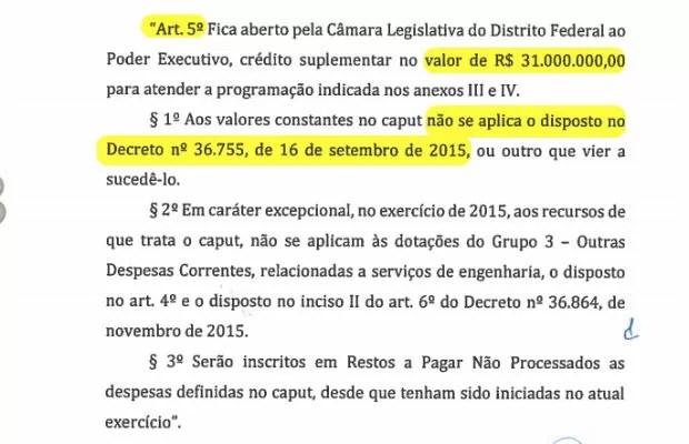 Emenda apresentada pela Mesa Diretora da Câmara do DF previa exceção para créditos de R$ 31 milhões (Foto: CLDF/Reprodução)