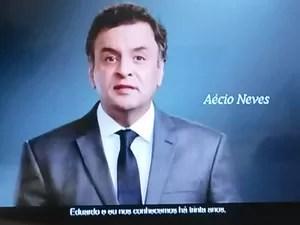 Aécio Neves na estreia do horário eleitoral na televisão (Foto: Reprodução)